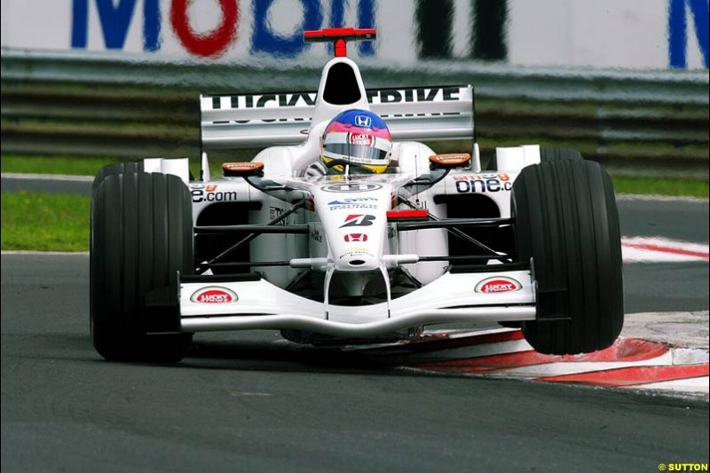 Jacques Villeneuve, BAR, during Friday free practice for the Hungarian Grand Prix, Hungaroring, Hungary, August 16 2002.