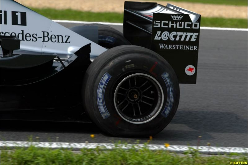 Mclaren, during Friday free practice for the Hungarian Grand Prix, Hungaroring, Hungary, August 16 2002.
