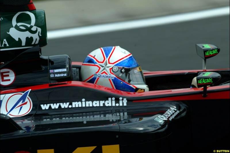 Anthony Davidson, Minardi, during Friday free practice for the Hungarian Grand Prix, Hungaroring, Hungary, August 16 2002.