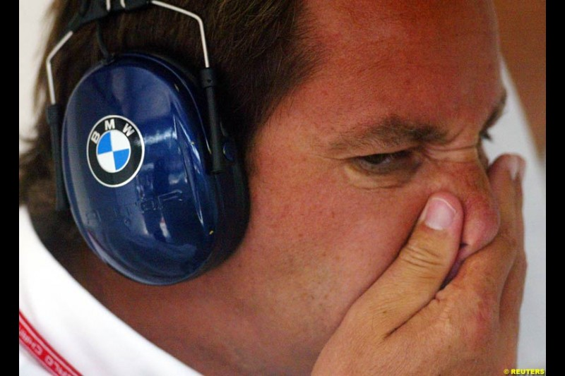 Gerhard Berger, BMW, during Friday free practice for the Hungarian Grand Prix, Hungaroring, Hungary, August 16 2002.