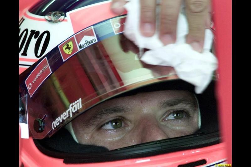 Rubens Barrichell, Ferrari, during Friday free practice for the Hungarian Grand Prix, Hungaroring, Hungary, August 16 2002.