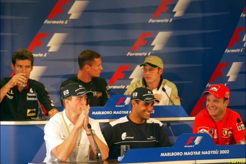 The FIA Thursday Press Conference. Mark Webber, Minardi; David Coulthard, McLaren; Jacques Villeneuve, British American Racing; Ralf Schumacher, Williams; Juan Pablo Montoya, Williams; Rubens Barrichello, Ferrari. Hungarian Grand Prix, Budapest, Hungary, August 15th 2002.