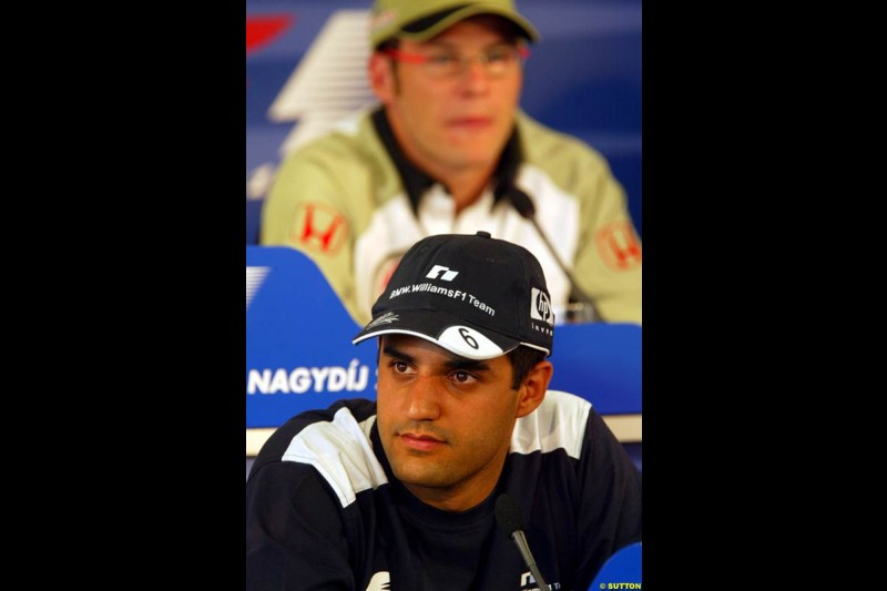Juan Pablo Montoya, Williams, during the FIA Thursday Press Conference. Hungarian Grand Prix, Budapest, Hungary, August 15th 2002.