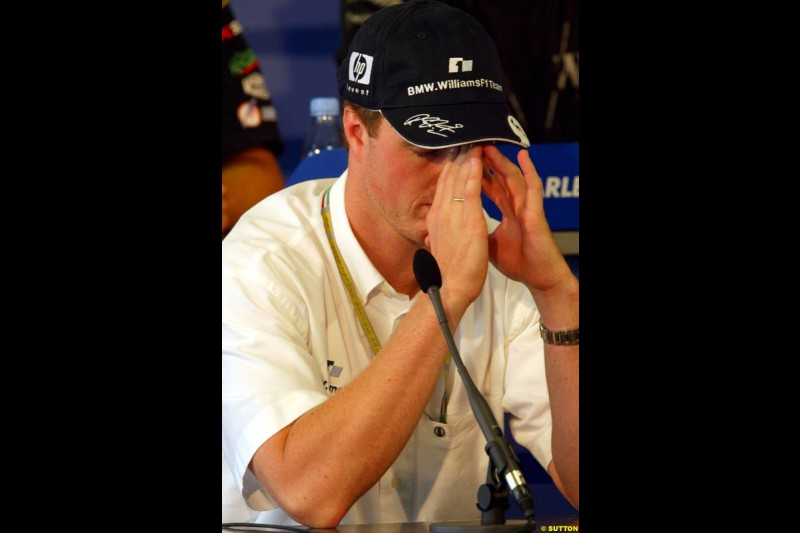 Ralf Schumacher, Williams, during the FIA Thursday Press Conference. Hungarian Grand Prix, Budapest, Hungary, August 15th 2002.