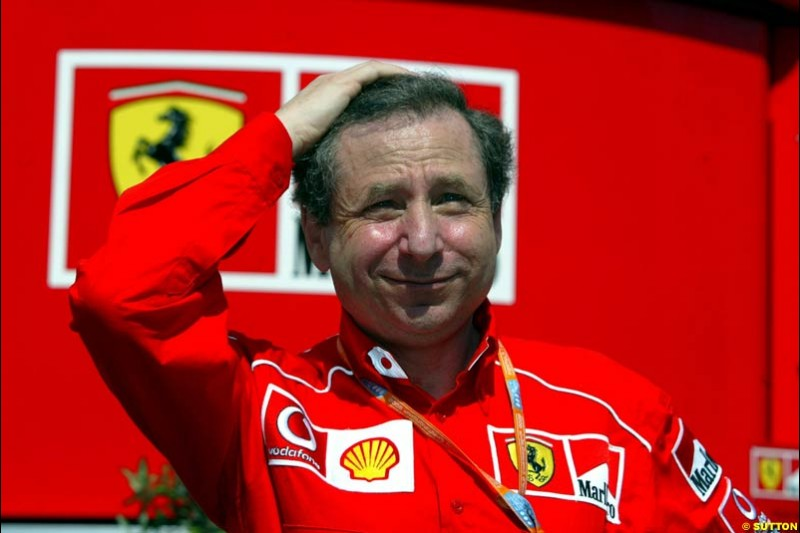 Jean Todt, Ferrari Director, during Qualifying, Hungarian Grand Prix, Budapest, August 17 2002.
