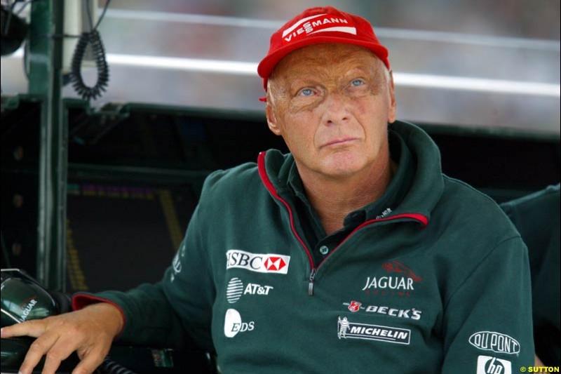 Niki Lauda, Team Principal of Jaguar, during Qualifying, Hungarian Grand Prix, Budapest, August 17 2002.