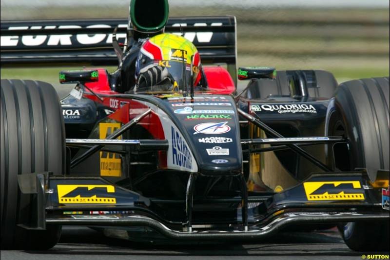 Mark Webber, Minardi, during Qualifying, Hungarian Grand Prix, Budapest, August 17 2002.