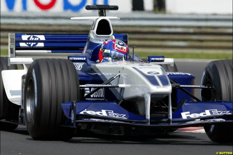 Juan Pablo Montoya, Williams, during Qualifying, Hungarian Grand Prix, Budapest, August 17 2002.
