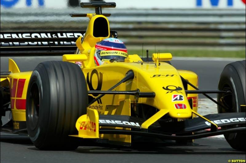 Takuma Sato, Jordan, during Qualifying, Hungarian Grand Prix, Budapest, August 17 2002.