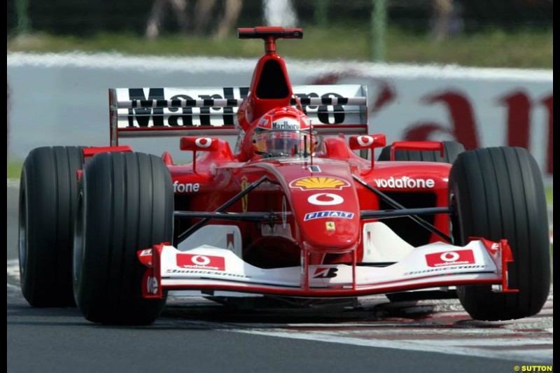 Michael Schumacher, Ferrari, during Qualifying, Hungarian Grand Prix, Budapest, August 17 2002.