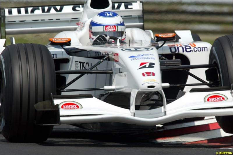 Olivier Panis, British American Racing, during Qualifying, Hungarian Grand Prix, Budapest, August 17 2002.
