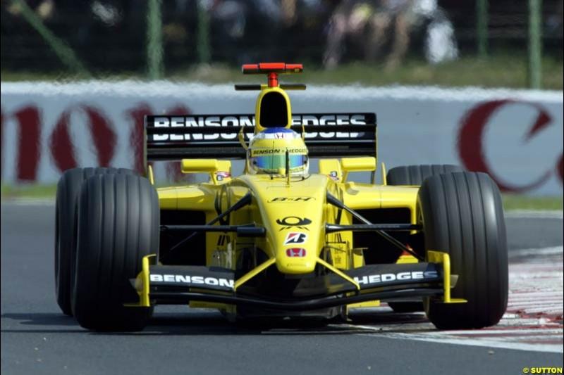 Giancarlo Fisichella, Jordan, during Qualifying, Hungarian Grand Prix, Budapest, August 17 2002.