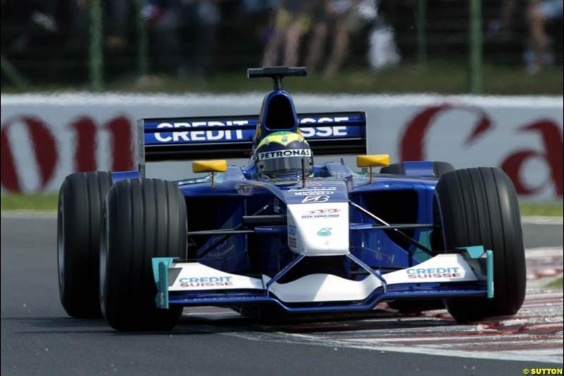 Felipe Massa, Sauber, during Qualifying, Hungarian Grand Prix, Budapest, August 17 2002.