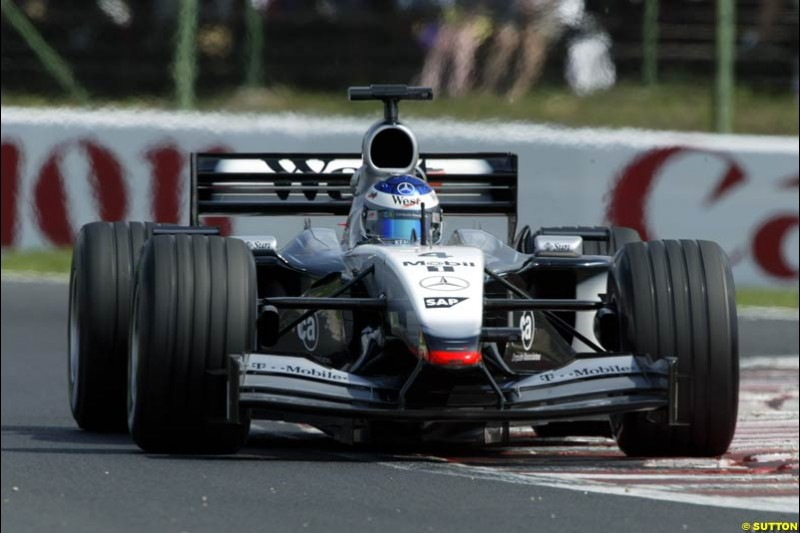 Kimi Raikkonen, McLaren, during Qualifying, Hungarian Grand Prix, Budapest, August 17 2002.