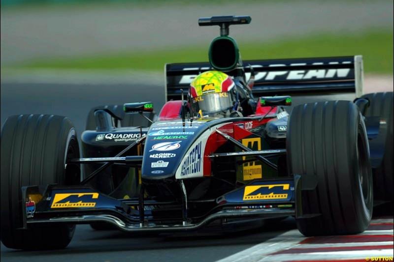 Mark Webber, Minardi, during Saturday free practice, Hungarian Grand Prix, Budapest, August 17 2002.