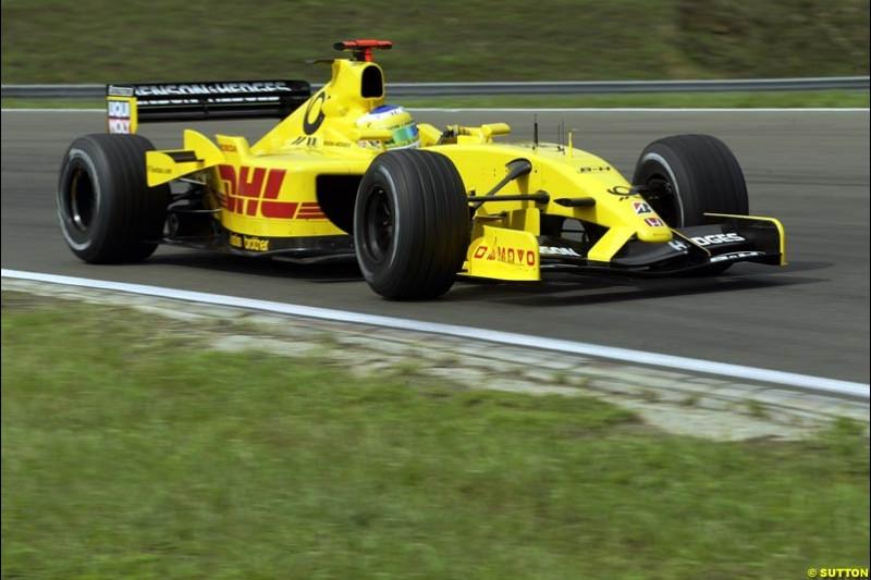 Giancarlo Fisichella, Jordan, during Saturday free practice, Hungarian Grand Prix, Budapest, August 17 2002.