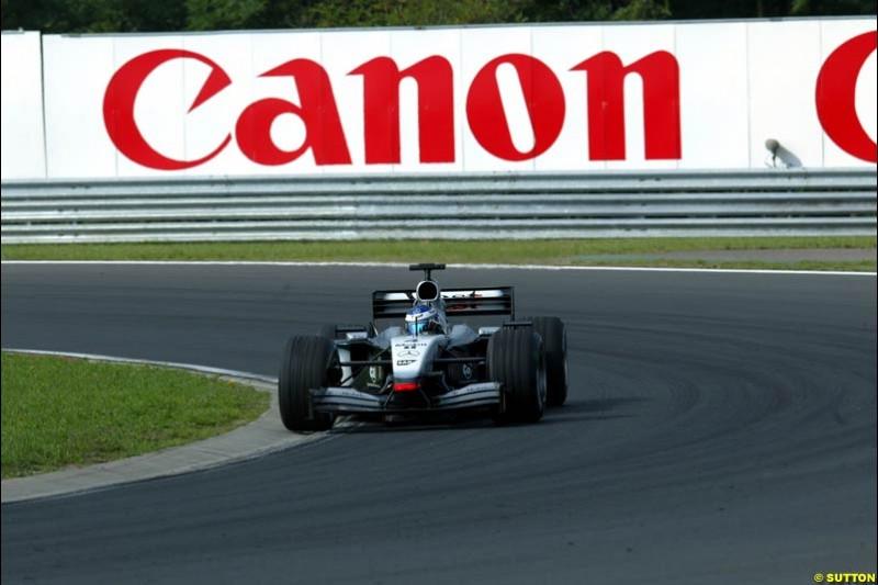 Kimi Raikkonen, McLaren, during Saturday free practice, Hungarian Grand Prix, Budapest, August 17 2002.
