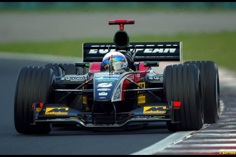 Anthony Davidson, Minardi, during Saturday free practice, Hungarian Grand Prix, Budapest, August 17 2002.