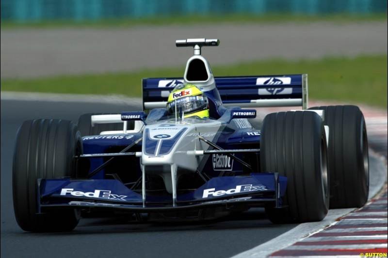Ralf Schumacher, Williams, during Saturday free practice, Hungarian Grand Prix, Budapest, August 17 2002.