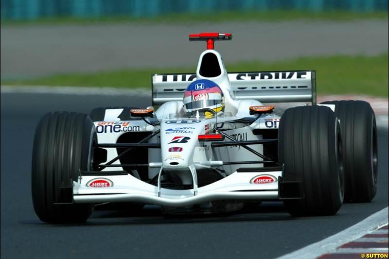 Jacques Villeneuve, British American Racing, during Saturday free practice, Hungarian Grand Prix, Budapest, August 17 2002.