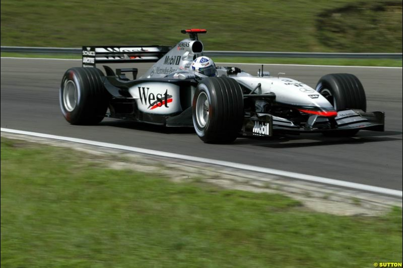 David Coulthard, McLaren, during Saturday free practice, Hungarian Grand Prix, Budapest, August 17 2002.