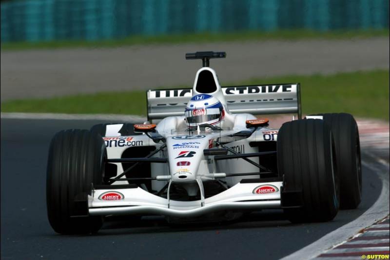 Olivier Panis, British American Racing, during Saturday free practice, Hungarian Grand Prix, Budapest, August 17 2002.