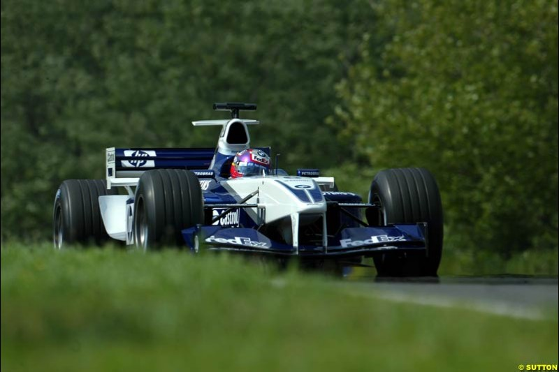 Juan Pablo Montoya, Williams, during Saturday free practice, Hungarian Grand Prix, Budapest, August 17 2002.