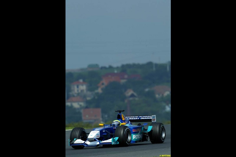 Felipe Massa, Sauber, during Saturday free practice, Hungarian Grand Prix, Budapest, August 17 2002.