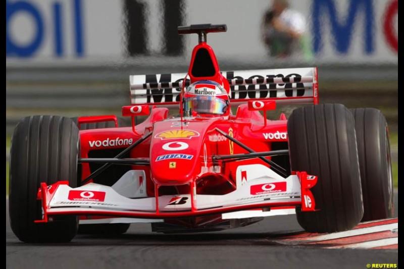 Rubens Barrichello, Ferrari, during Saturday free practice, Hungarian Grand Prix, Budapest, August 17 2002.