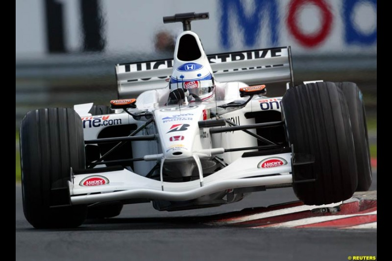 Olivier Panis, BAR, during Saturday free practice, Hungarian Grand Prix, Budapest, August 17 2002.