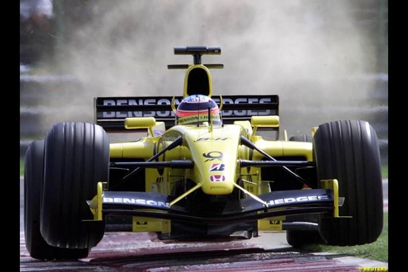 Takuma Sato, Jordan, during Saturday free practice, Hungarian Grand Prix, Budapest, August 17 2002.