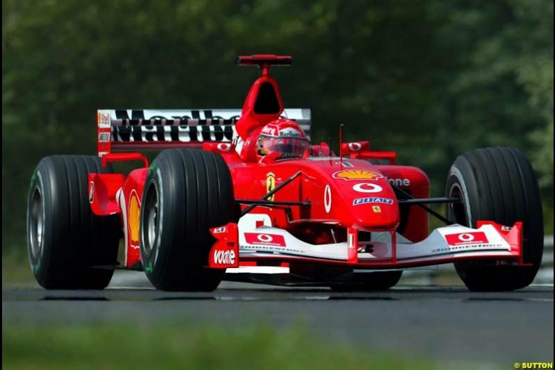 Michael Schumacher, Ferrari, during Saturday free practice, Hungarian Grand Prix, Budapest, August 17 2002.