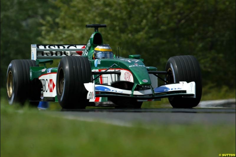 Pedro de la Rosa, Jaguar, during Saturday free practice, Hungarian Grand Prix, Budapest, August 17 2002.