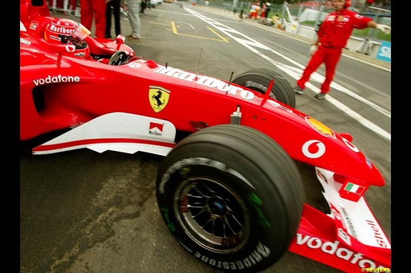 Michael Schumacher, Ferrari, during Saturday Free Practice. Belgian Grand Prix, Spa-Francorchamps, Belgium, August 31st 2002.