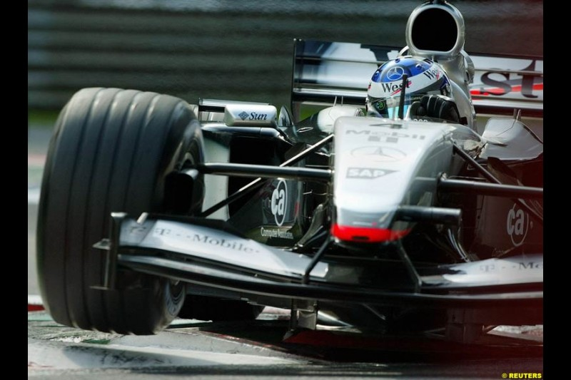 Kimi Raikkonen, McLaren, during Qualifying. Belgian Grand Prix, Spa-Francorchamps, Belgium, August 31st 2002.