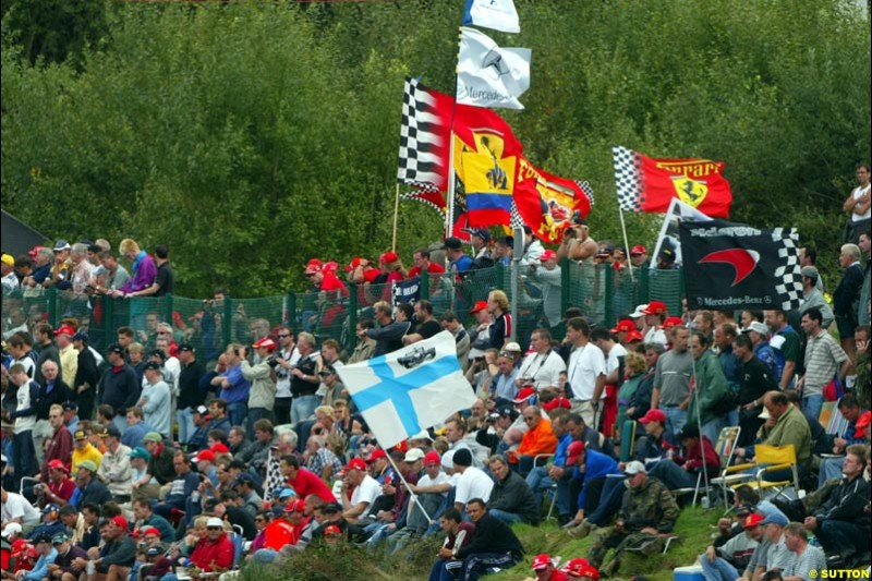 The Fans during Qualifying. Belgian Grand Prix, Spa-Francorchamps, Belgium, August 31st 2002.