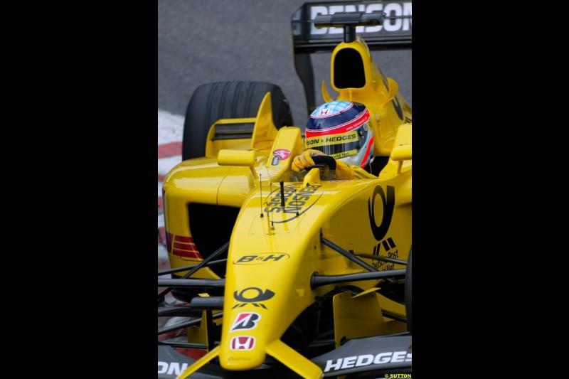 Takuma Sato, Jordan, during Qualifying. Belgian Grand Prix, Spa-Francorchamps, Belgium, August 31st 2002.