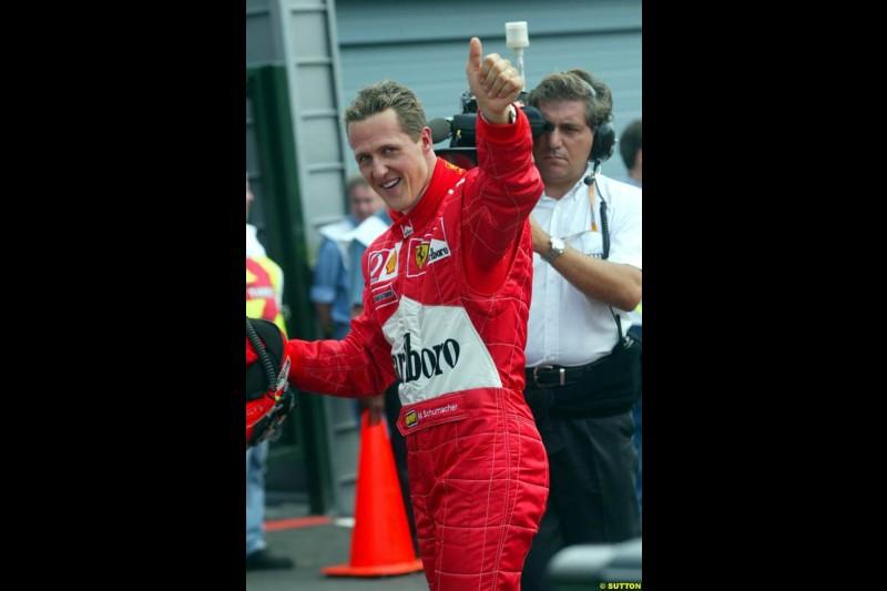 Michael Schumacher celebrates his first Spa-Francorchamps Pole Possition. Belgian Grand Prix, Spa-Francorchamps, Belgium, August 31st 2002.