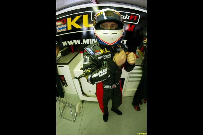 Anthony Davidson, Minardi, during Qualifying. Belgian Grand Prix, Spa-Francorchamps, Belgium, August 31st 2002.