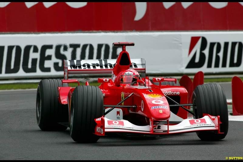 Michael Schumacher, Ferrari, during Qualifying. Belgian Grand Prix, Spa-Francorchamps, Belgium, August 31st 2002.