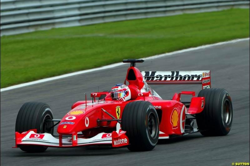 Rubens Barrichello, Ferrari, during Qualifying. Belgian Grand Prix, Spa-Francorchamps, Belgium, August 31st 2002.