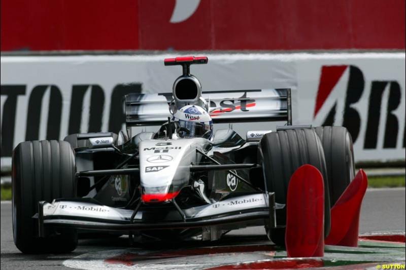 David Coulthard, McLaren, during Qualifying. Belgian Grand Prix, Spa-Francorchamps, Belgium, August 31st 2002.