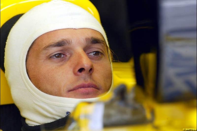 Giancarlo Fisichella, Jordan, during Qualifying. Belgian Grand Prix, Spa-Francorchamps, Belgium, August 31st 2002.