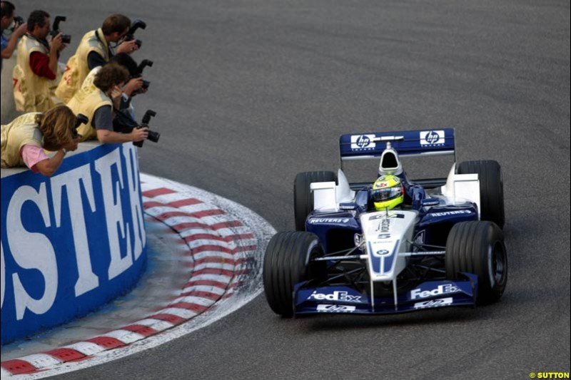 Ralf Schumacher, Williams, during Qualifying. Belgian Grand Prix, Spa-Francorchamps, Belgium, August 31st 2002.