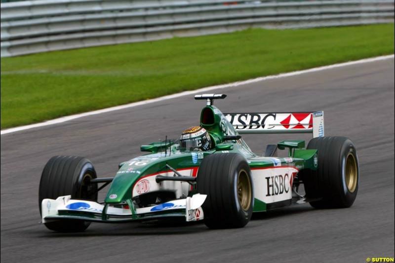 Eddie Irvine, Jaguar, during Qualifying. Belgian Grand Prix, Spa-Francorchamps, Belgium, August 31st 2002.