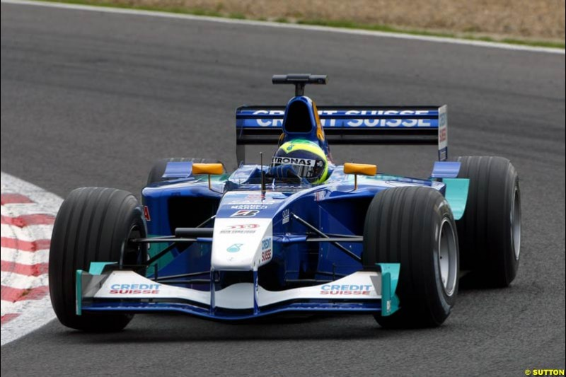 Felipe Massa, Sauber, during Qualifying. Belgian Grand Prix, Spa-Francorchamps, Belgium, August 31st 2002.