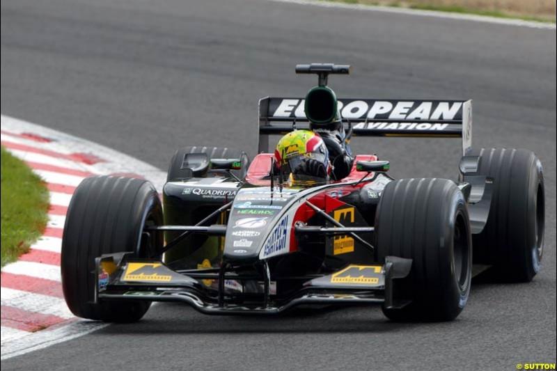 Mark Webber, Minardi, during Qualifying. Belgian Grand Prix, Spa-Francorchamps, Belgium, August 31st 2002.