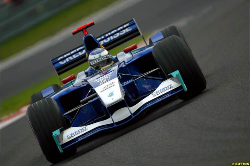 Nick Heidfeld, Sauber, during Qualifying. Belgian Grand Prix, Spa-Francorchamps, Belgium, August 31st 2002.