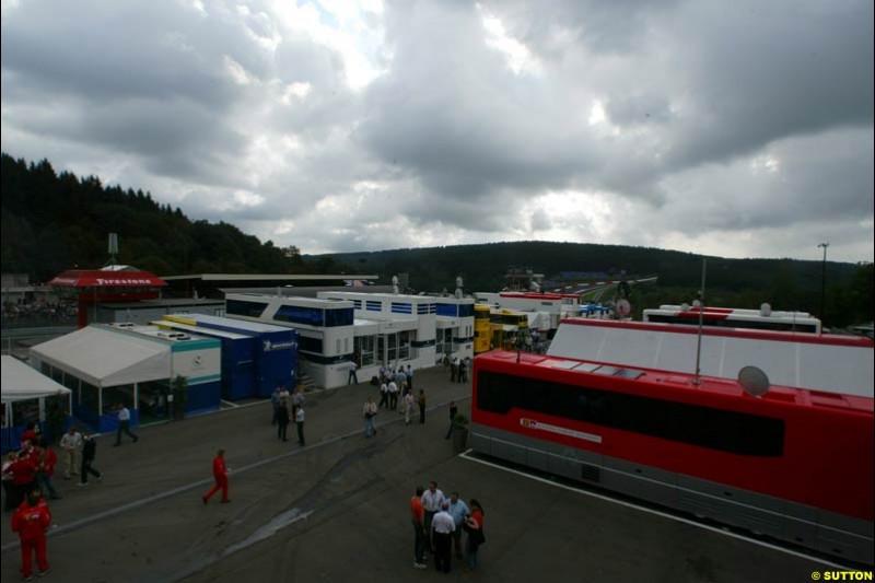 The Paddock. Belgian Grand Prix, Spa-Francorchamps, Belgium, August 31st 2002.