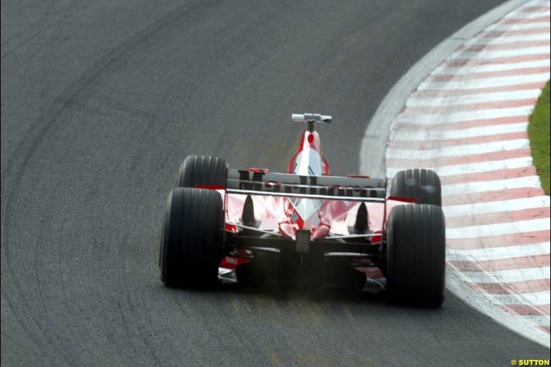 A Ferrari during Saturday Free Practice. Belgian Grand Prix, Spa-Francorchamps, Belgium, August 31st 2002.